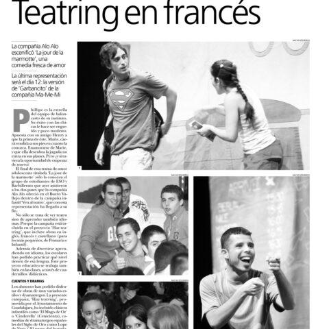 Crítica en EL DÍA de Guadalajara de LE JOUR DE LA MARMOTTE de bricAbrac Teatro- teatro en francés