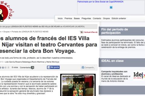 Bon Voyage de bricAbrac Teatro - teatro en francés - Entrevista Ideal Escolar por los alumnos de francés del IES Villa de Níjar