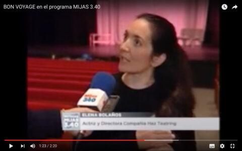 Entrevista de Elena Bolaños con BON VOYAGE de bricAbrac Teatro en el Teatro Las Lagunas de Mijas - Mijas TV Noticias 3.40
