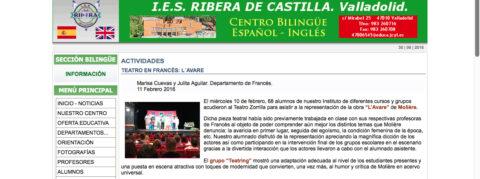 Crítica de L'AVARE de bricAbrac Teatro de IES RIBERA DE CASTILLA