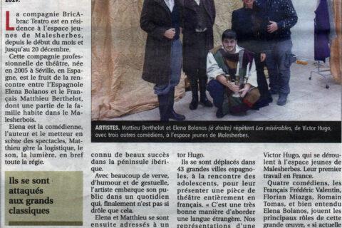 Les Misérables de bricAbrac Teatro en la prensa francesa La République du Centre - Teatro en francés