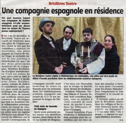 Les Misérables de bricAbrac Teatro en la prensa francesa Le Courrier du Loiret - Teatro en francés