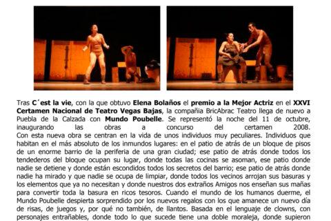 Crítica MUNDO POUBELLE de bricAbrac Teatro en Crónicas de un Pueblo