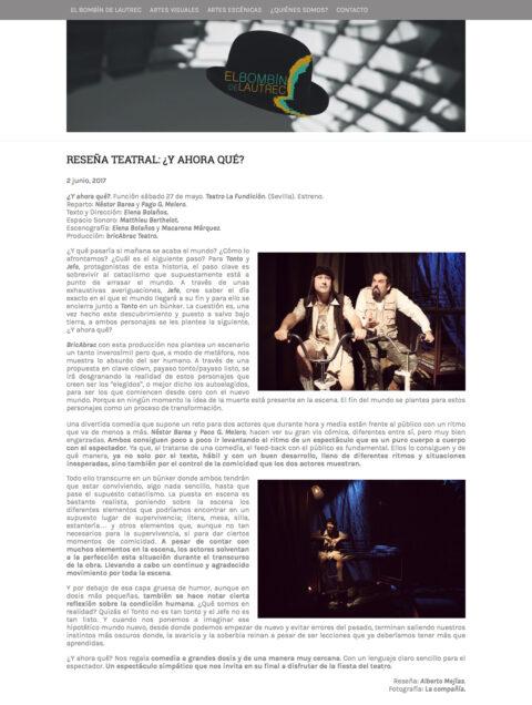Crítica de Y AHORA QUÉ en El Bombín de Lautrec