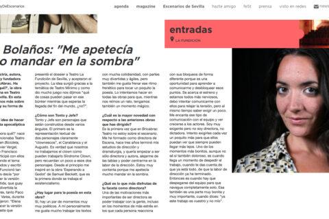 """Entrevista en Escenarios de Sevilla. Elena Bolaños: """"Me apetecía mucho mandar en la sombra"""" Y AHORA QUÉ de bricAbrac Teatro"""