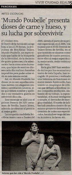 Crítica en La Tribuna de Ciudad Real de MUNDO POUBELLE de bricAbrac Teatro