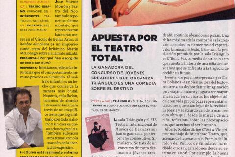 Crítica de C'EST LA VIE el principio muy duro de bricAbrac Teatro en METROPOLI - EL MUNDOAPUESTA POR EL TEATRO TOTAL