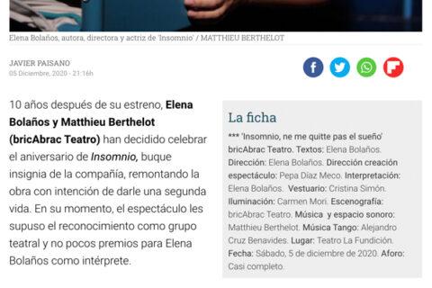 Crítica de INSOMNIO en el Diario de Sevilla por Javier Paisano. el 5 de diciembre 2020. INSOMNIO NE ME QUITTE PAS EL SUEÑO en la sala la fundición de sevilla | CRÍTICA DE TEATRO Feliz aniversario bricAbrac