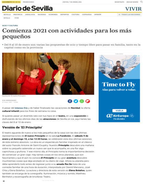 EL NUEVO PRINCIPITO de bricAbrac Teatro en el Diario de Sevilla